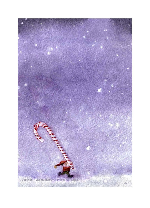 Christmas Greeting Card, Watercolor Christmas Card, Christmas Elf Card, Gnome Christmas Card, Watercolor Card, Candy Cane Gnome