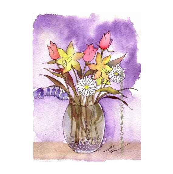 Spring Flowers Card, Watercolor Flowers Greeting Card, Floral Flower Art, Daffodil Bluebells Daisy Tulips Bouquet Painting Print