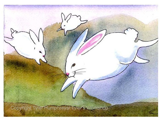 Easter Card - Easter Rabbit Greeting Card - Watercolor White Rabbits Illustration Greeting Card Print - Funny Bunny Art