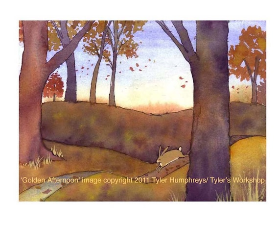 Watercolor Card Autumn Illustration Bunny Rabbit Animal Watercolor Greeting Card 'Golden Afternoon'