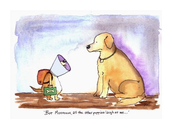 Dog Card - Back To School - Mother Dog & Puppy Funny Dog Greeting Card Dogs Watercolor Painting Illustration Print 'Puppy School Days'