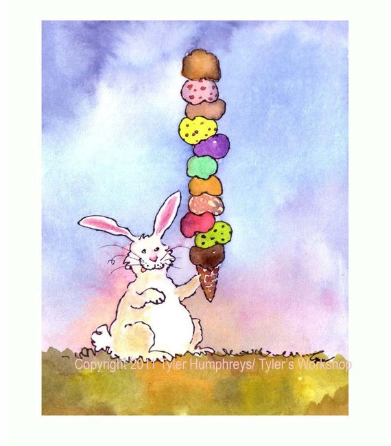 Ice Cream Rabbit Card - Bunny Card - Greeting Card - Funny Rabbit Bunny Watercolor Painting Illustration Print 'Ice Cream Bunny'