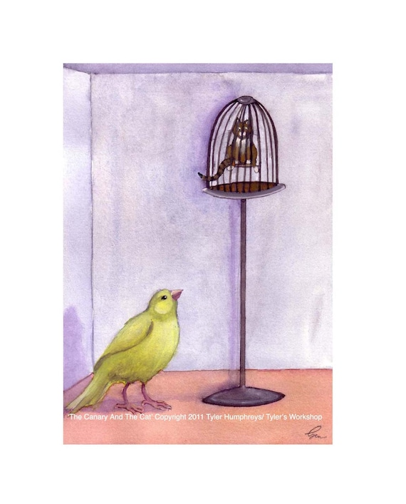 Funny Canary & Tabby Cat Greeting Card- Watercolor Bird and Cat illustration Print 'The Canary And The  Cat'