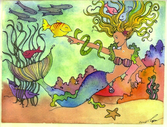 Mermaid Greeting Card, Tropical Fish & Mermaid Watercolor Painting Greeting Card Print 'Rainbow Mermaid'