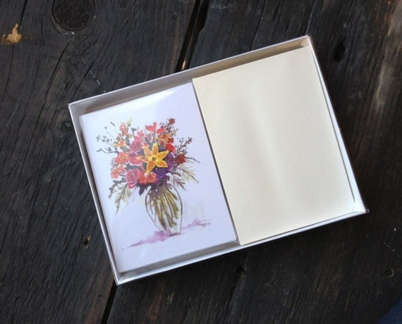 Boxed Set of Twelve Floral Flower Bouquet Note Cards, Thank You Cards, Floral Stationery, with Ivory Envelopes, Summer Flowers Note Cards