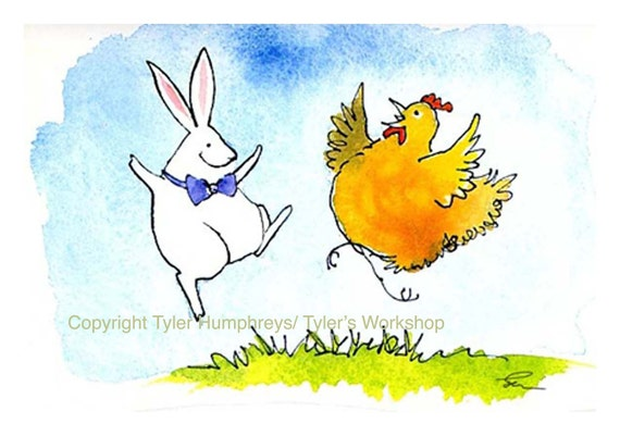 Easter Card, Funny Animal Greeting Card, Easter Greeting Card, Chicken & Rabbit Greeting Card Watercolor Animals Painting Illustration Print