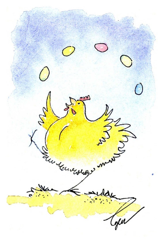 Funny Easter Card, Funny Chicken Easter Greeting Card, Watercolor Handmade Easter Greeting Card