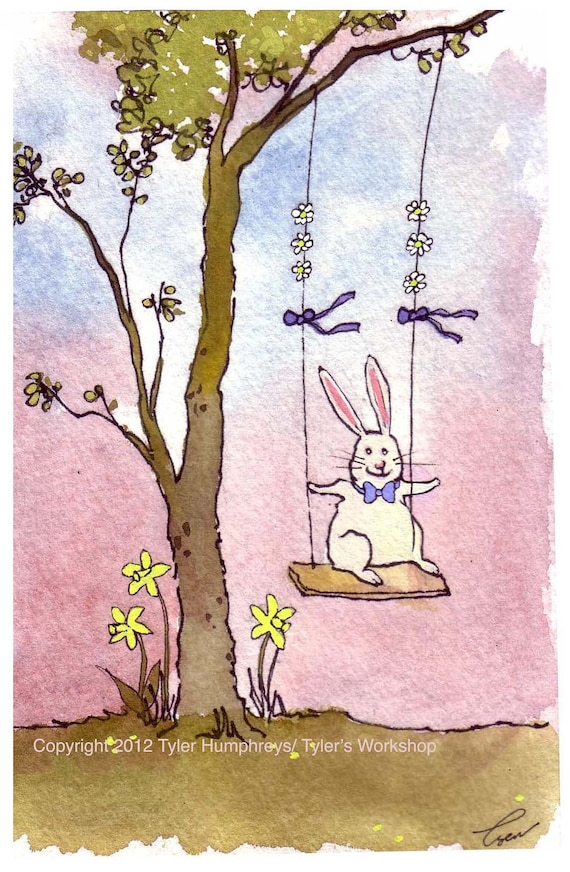 Easter Card - Bunny Rabbit Art - Funny Bunny Rabbit Greeting Card - Rabbit Watercolor Painting Print