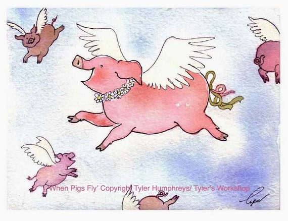 Pig Print, Pig Wall Art, When Pigs Fly 8.5 x 11, Funny Pig Art, Watercolor Painting Pigs, Pig Art, Pink Pig Illustration, Pig Poster