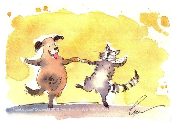 Dog & Cat Greeting Card Funny Cat And Dog Card Art Watercolor Pets Painting Illustration Print 'Twinklepaws'