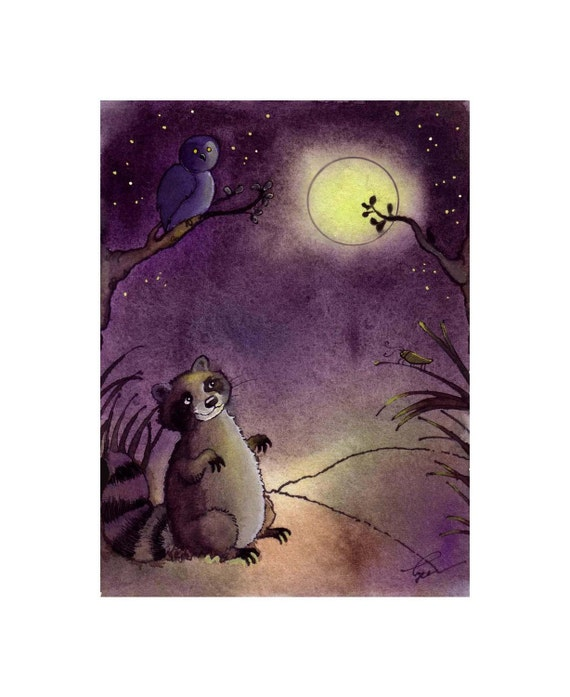 Raccoon Print - Animal Art Print - Watercolor Print Childrens Art - Raccoon Owl Cricket Forest Woodland Animals Watercolor Illustration