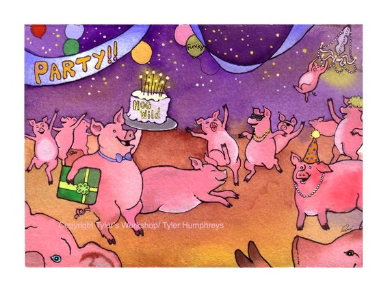 Funny Pig Card - Pig Greeting Card - Funny Pig Art - Pig Illustration 'Party Pigs'