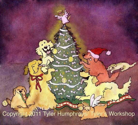 Dog Christmas Card, Golden Retriever Dog Christmas Cards, Funny Dog Art, Dogs Watercolor Painting Illustration Print 'Golden Christmas'