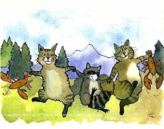 Funny Maine Coon Cats Card - Cat Art- Cats Ilustration Maine Lobsters Humorous Watercolor Cats Painting Greeting Card Print