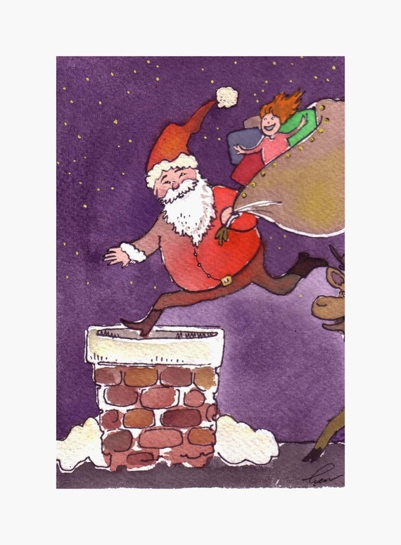 Christmas Card, Christmas Greeting Card Santa Clause Greeting Card Christmas Watercolor Painting Print