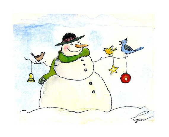 Snowman Christmas Greeting Card - Snowman Art - Winter Snowman Watercolor Painting Illustration Cartoon Greeting Card Print
