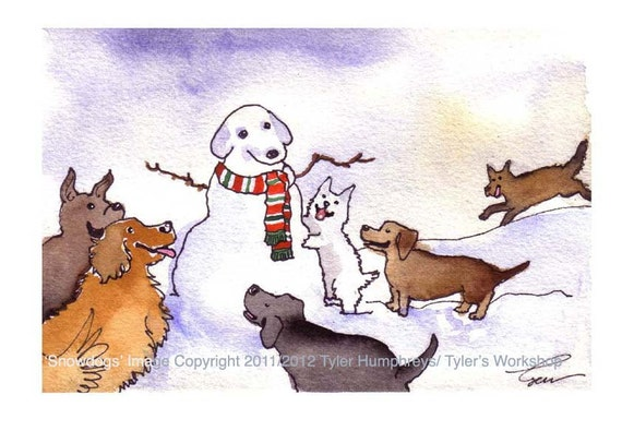 Dog Christmas Card, Dogs Christmas Greeting Card, Dog Art, Snowman Winter Funny Dogs Watercolor Painting illustration Print 'Snow Dogs' 4x6