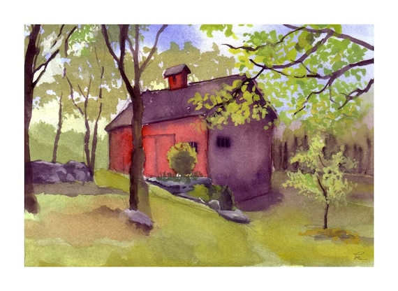 Old Red Barn Print Print - RESERVED for Gisalecolz