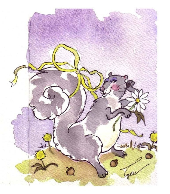 Funny Squirrel Card- Squirrel Art- Girl Squirrel Watercolor Painting Illustration Cartoon Print 'Glamour Girl Squirrel'