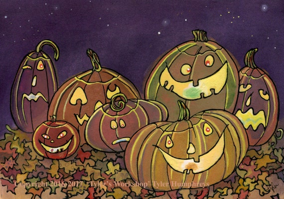 Halloween Cards, Handmade Halloween Greeting Card, Halloween Pumpkins Jack O Lanterns Card, Halloween Card Kids 'The Problem With Pumpkins'