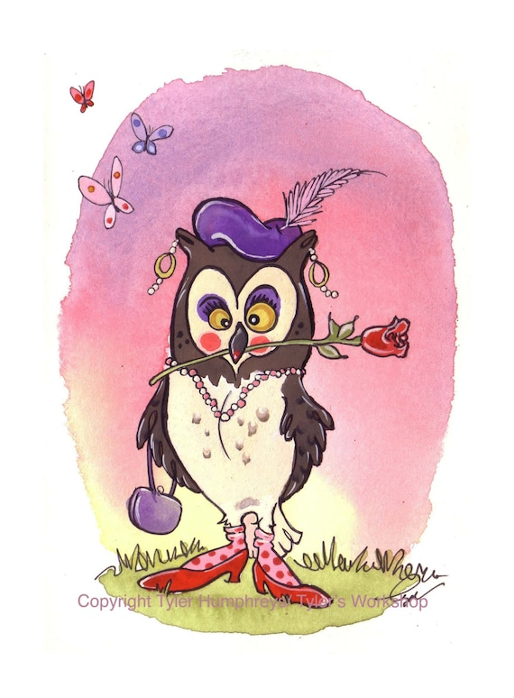 Funny Owl Greeting Card - Funny Bird Card - Birds, Owls Watercolor Greeting Card - 'An Owl Named Rose'