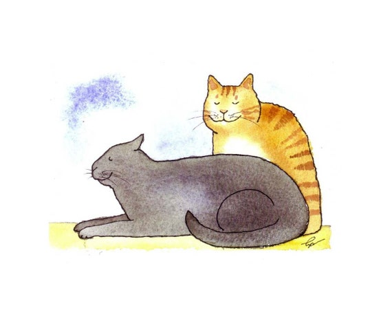 Cat Card, Cat Greeting Card, Funny Cat Blank Card, Cats illustration, Grey and Orange Cats Watercolor Greeting Card Print, 'Cats In Repose'