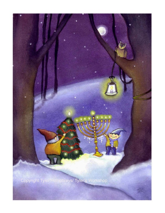 Christmas & Hannukah Card - Christmas and Hannukah Card - Happy Holidays Greeting Card - Christmas Elves Card