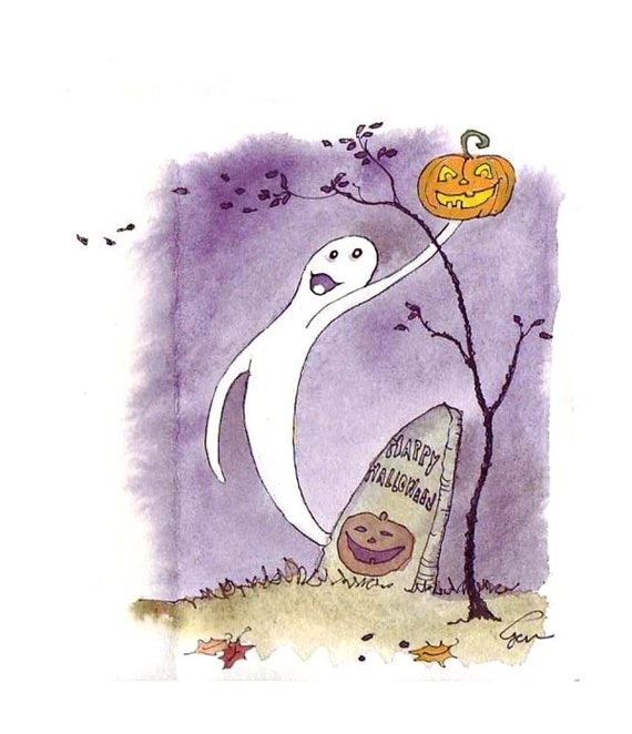 Halloween Card, Halloween Greeting Card, Ghost Halloween Handmade Card  'Ghost In The Graveyard'
