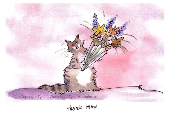 Cats, Happy Mothers Day Card, Cat Greeting Card, Notecard, Thank You Card, Watercolor Cat Cartoon Illustration Print 'Thank Mew'