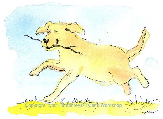 Dog Card, Funny Dog Greeting Card, Dog Art, Watercolor Card Dog, Labrador Retriever Running Dog Print, Dog painting Print, 'Fetch'