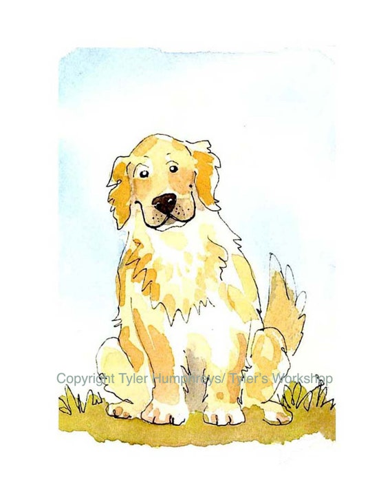 Golden Retriever Dog Print - Funny Golden Retriever Watercolor Dog Illustration