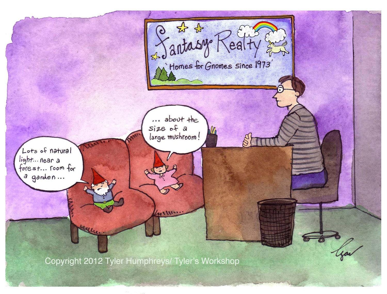 Funny Gnome Card - Real Estate Humor Card- Funny Fantasy