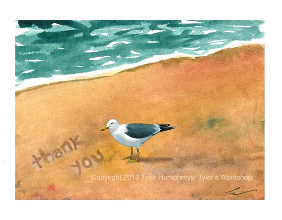 Blank Seagull Beach Thank You Card, Ocean Beach Seagull Watercolor Printed Greeting Card, Bird Illustration, Summer Card, Seagull Bird Card