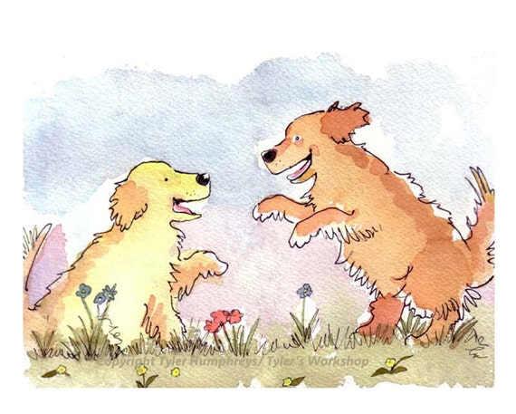Dog Card Golden Retriever Watercolor Painting/ Illustration Dogs Greeting Card Print 'Romping Rovers'