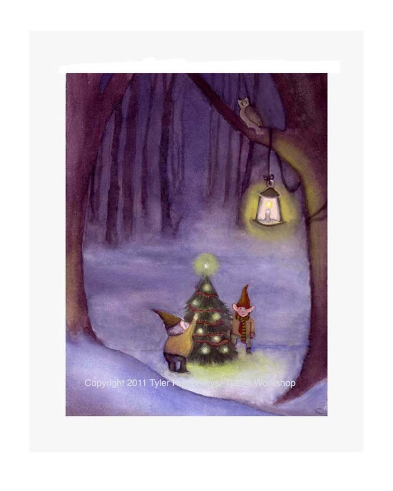 Gnome Christmas Card, Christmas Elves Christmas Greeting Card Christmas Watercolor Painting Illustration Print 5x7