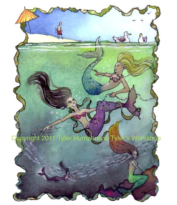 Mermaid Card, Mermaid Art, Swimming Mermaids Watercolor Gouache Painting Mermaids Illustration Print 'Mermaid's Folly'
