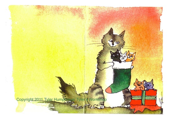 Cat Art- Cat Christmas Greeting Card- Kittens Cat Watercolor Painting Print