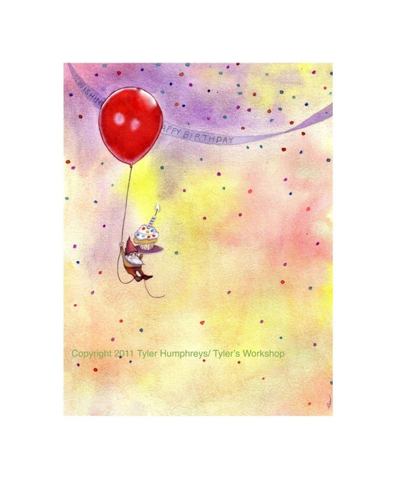 Birthday Greeting Card - Gnome Birthday Card - Happy Birthday Card - Funny Gnome Watercolor illustration Print