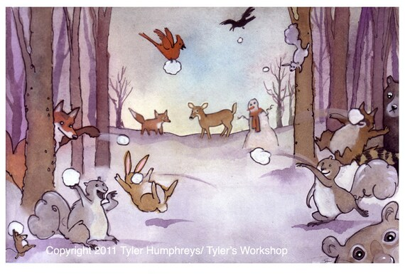 Funny Woodland Animals Card - Christmas Animals Greeting Card - Winter Animal Illustration 'Snowball Fight'