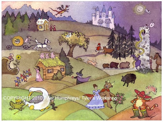Fairy Tales Wall Art, Children's Art Print, Nursery Rhymes Illustration Watercolor Painting Print - Children's Art 'Once Upon A Time...'