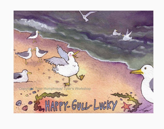 Seagull Bird Watercolor Card - Bird Art - Bird Greeting Card - Funny Beach Watercolor Print 'Happy Gull Lucky'
