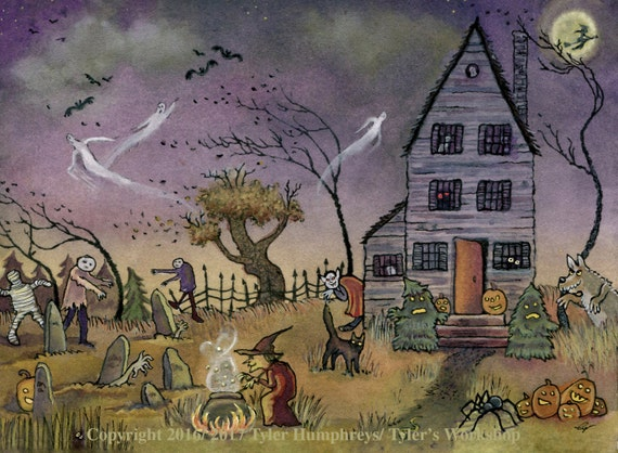 Haunted House Halloween Card - Funny Halloween Greeting Card - Handmade Halloween Card - Halloween Card for Kids 'Do Not Enter'
