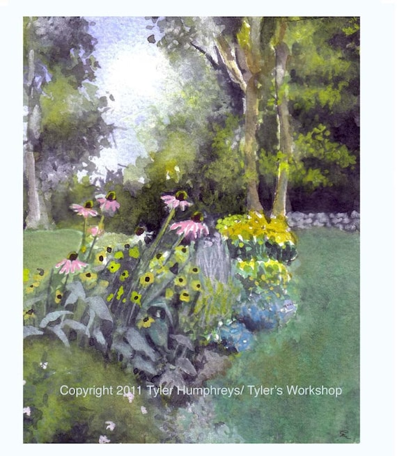 Flower Garden Card, Blank Card Summer Garden Flowers Connecticut New England, Garden Landscape Painting, Sympathy Card Flowers Garden