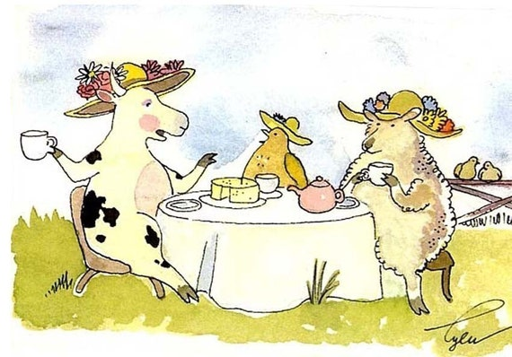 Funny Animals Greeting Card, Cow Card, Sheep Greeting Card, Chicken Card, Animals Cartoon Print 'Ladies Who Lunch'