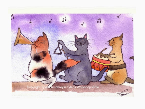 Watercolor Cats Printed Greeting Card - Cats with Music Instruments Drum Trumpet Triangle Playing Musical Cats - Blank Card Cats 4x6