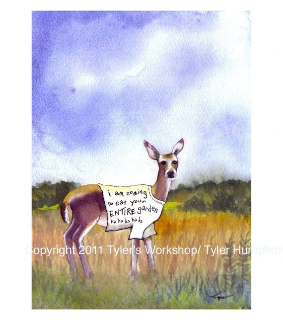 Funny Deer Greeting Card- Deer Art- Garden Watercolor Illustration Cartoon Greeting Card Print