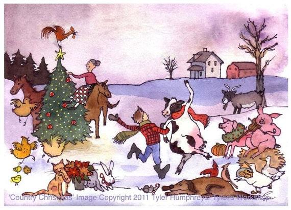 Christmas Greeting Card Images.Christmas Card Farm Animals Christmas Greeting Card Funny Animals Pets Watercolor Christmas Card