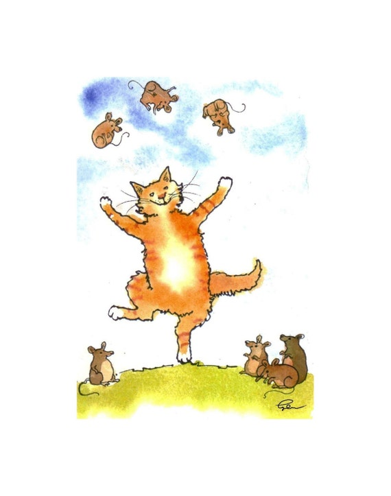 Funny Cat Greeting Card - Cat Art - Cat Juggling Mice Watercolor Painting Illustration Cartoon Greeting Card Print 4x6