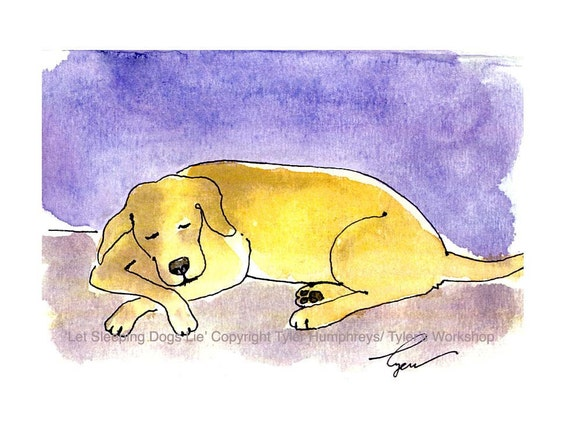 Yellow Labrador Dog Greeting Card, Funny Dog Card, Dog Art, Dog Watercolor Painting Illustration Print 'Let Sleeping Dogs Lie' 4x6