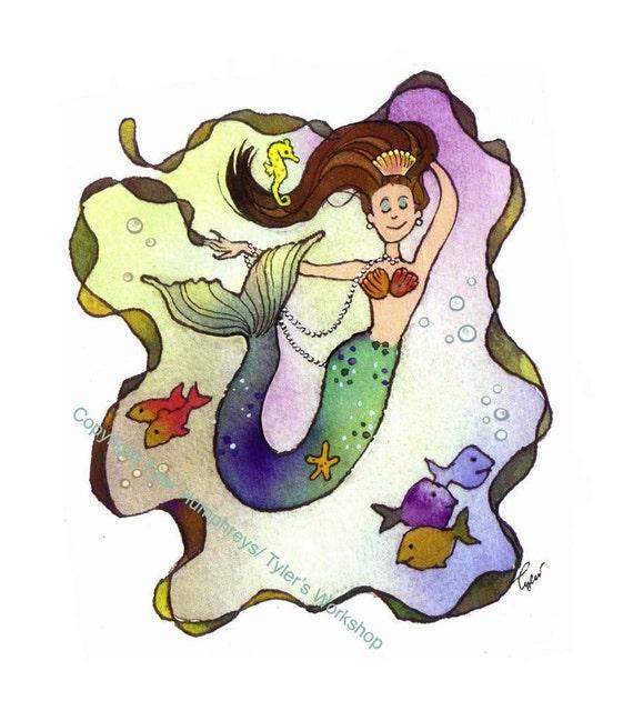 Mermaid Card - Mermaid Greeting Card - Mermaid Art - Funny Mermaid Illustration